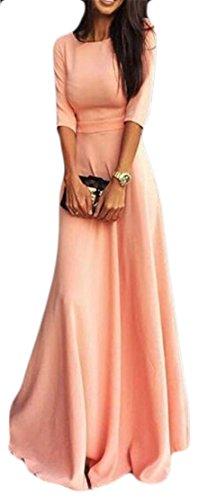 Mince À Manches 3/4 De Femmes Cruiize Crewneck Balançoire Robes De Mariée Maxi Rose