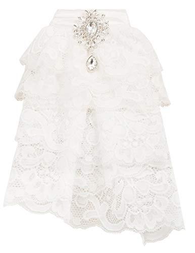 Women Victorian Costume Pin Bow Tie Elizabethan Lace Jabot Neckwear White