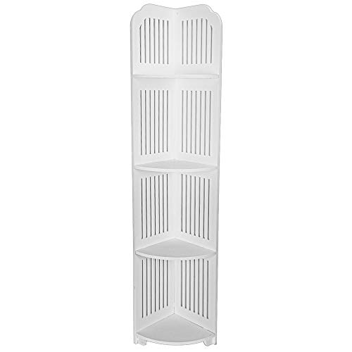 (US Fast Shipment Quaanti 4-Tier Corner Wire Display Shelves Bathroom Shower Caddy Organizer Shelf Free Standing Corner Storage Rack Floor-Mounted Triangular Floor Kitchen Storage Rack (White))