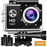 Action Camera Underwater Cam 1080P Full HD 12MP Waterproof 30m 2'' LCD 140 Degree Wide-Angle Sports Camera with 2 Rechargeable Batteries and Mounting Accessory Kits - Black15 by Eveav