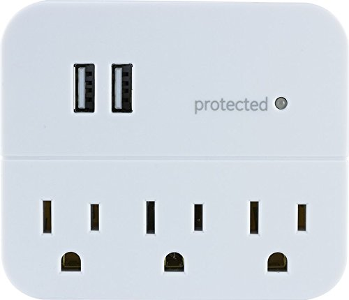 GE Pro Surge Protector Outlet Adapter, 3 Outlets, 2 USB Ports, Charging Station Wall Tap, 3 Prong, USB 2.4A, Protected Indicator Light, 560 Joules, UL Listed, White, 37156