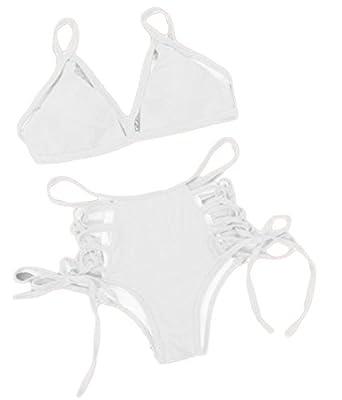 Pandapang Womens 2 Piece Cut Out Bandage Tie Side Swimsuits Bikini Set