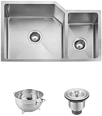 DAX Handmade 70 30 Double Bowl Undermount Kitchen Sink, 16 Gauge Stainless Steel, Brushed Finish, 30 x 20 x 10 Inches DAX-3020B