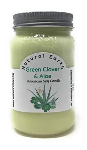 Green Clover & Aloe - Soy Candle - 16 Oz. Mason Jar