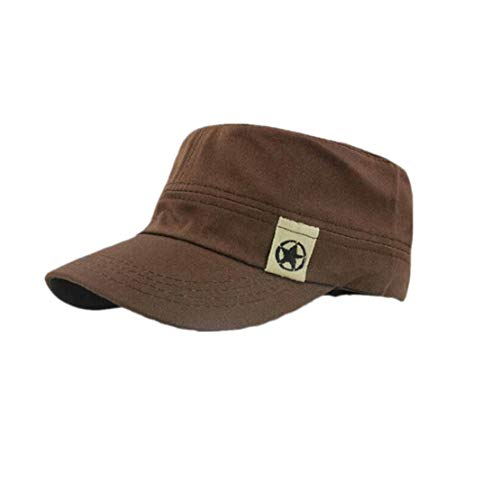 NEEKEY Flat Roof Military Hat Cadet Patrol Bush Hat Baseball Field Cap CF(Free Size,Coffee) -