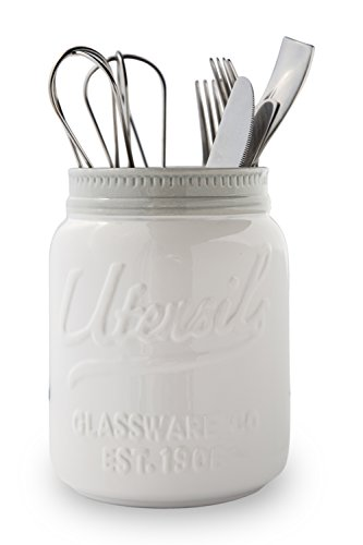 Wide Mouth Mason Jar Utensil Holder by Comfify - Decorative Kitchenware Organizer Crock, Chip Resistant Ceramic - Perfect Cookware Gift - White, Large Size by Comfify (Image #5)