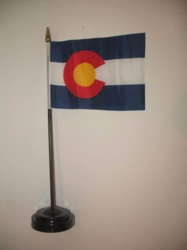 Colorado State Flag 4''x6'' Desk Set Table Stick Black Base BEST Garden Outdor Decor polyester material FLAG PREMIUM Vivid Color and UV Fade Resistant by Moon