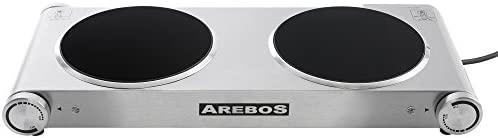 Arebos® placa de horno eléctrico de acero inoxidable con dos ...