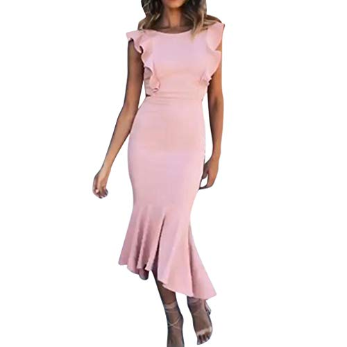 dumanfs Women Sexy Mermaid Bodycon Dress, Solid Sleeveless Backless Slim Dinner Party Cocktail Ruffle Warp Midi Dresses Pink
