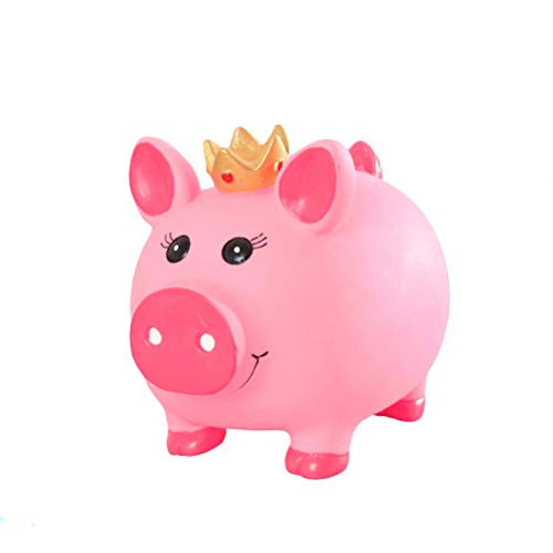 VORCOOL Crown Piggy Bank Coin Bank Crafts Currency Saving Bank Children Money Box Gifts Home Decor(Crown Pig,Small) -