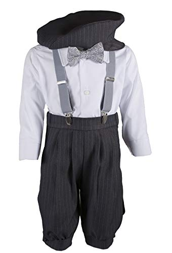 Boys Grey Knicker Set with Grey Paisley Bow Tie in Baby, Toddler & Boys Sizes (2 Toddler) from Tuxgear