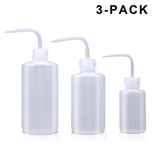 Wash Bottle, 3 Pack LDPE Squeeze Bottles, Safe Plastic Low Density Polyethylene Bottles with Narrow Mouth, for Chemistry, Industry, Lab & Gardening, 500ml / 17oz, 250ml / 8.5oz, 150ml / 5.1oz