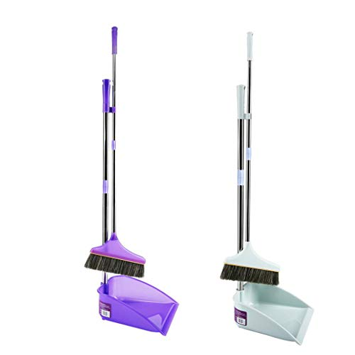 Sixpi Broom and Dustpan Set for Office and Home Standing Upright Sweep Use Long Handle Dustpan and Lobby Broom for Quick Standing Sweep Set with Broom ()