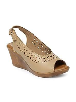 Monrow Beige Wedges Sandals For Women, 37 EU