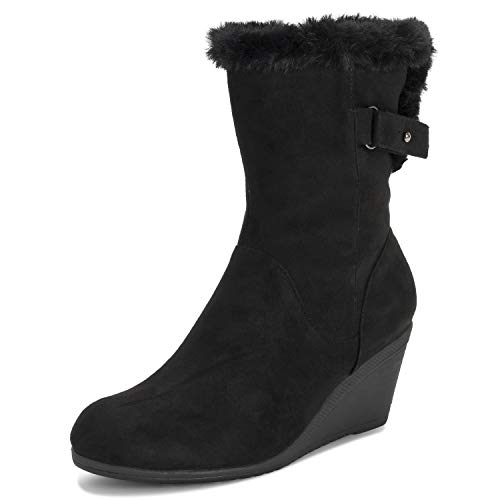 (Viva Shoes Womens Adjustable Fleece Lined Wide Calf Mid Calf Boots Low Wedge Heel - Black - EU39/US8 - KL0350)