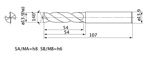 2 mm Hole Depth External Coolant 13.9 mm Cutting Dia 2.5 mm Point Length 13.9 mm Shank Dia. Mitsubishi Materials MWE1390SA MWE Series Solid Carbide Drill