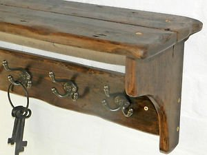 RusticWoodenCrafts Reclaimed wood Hat /& Coat Rack with shelf Cottage Country style 3 hooks = 58cm