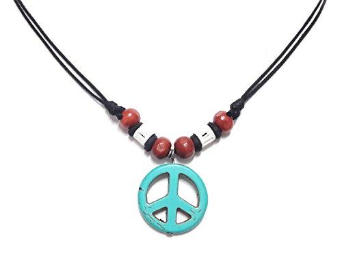 Robin Costume Diy (Peace Sign Necklace - Peace Symbol Necklace - Stone Peace Sign Pendant - Adjustable Black Cord (Blue))