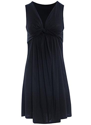 Azbro Mujer Vestido sin Mangas Cuello V Profundo Lazo Frontal de Color Sólido negro