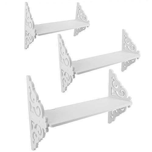 (AUNMAS Storage Rack Set of 3 Floating Bookshelf Display Carved White Wall Shelves for Home Decor)