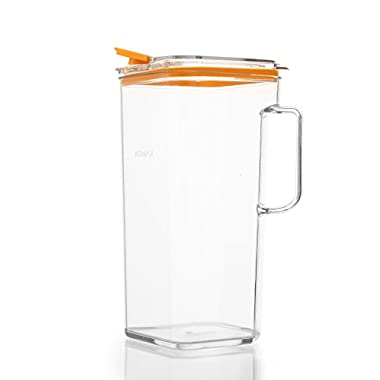 Komax Tritan BPA-Free Pitcher, 64 Ounce, Orange Lid