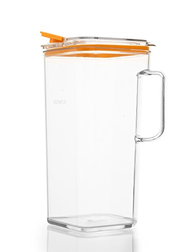 Komax Tritan Clear Large (2 quart) Pitcher With Orange Lid BPA-Free - Great for Iced tea & Water (Square Glass Pitcher)