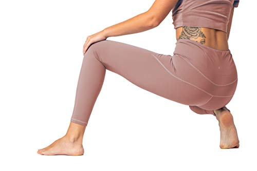 Move Beyond High-Waist Sports Legging, Breathable Everyday Athletic Wear Muscle Supporting Yoga Running Cycling Workout Pants for Women (Pink, Medium)