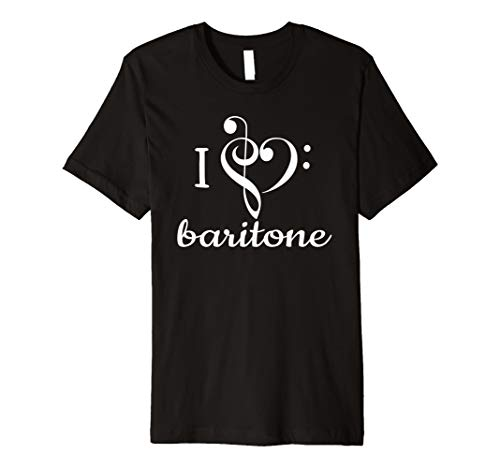 - I Heart Baritone T Shirt Love Music Treble Bass Clef Apparel