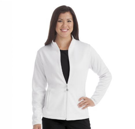 Med Couture Women's In-Seam Zip Front Solid Warm Up Scrub Jacket Small White