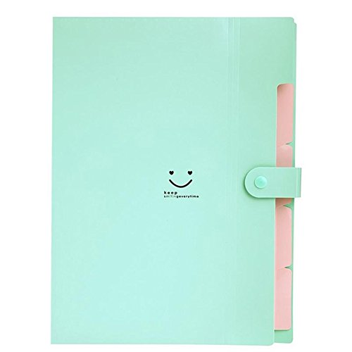 Plastic Document Folders Multi Pocket Organizer A4 Paper Expanding File Folder Pockets Accordion Document Organizer (Blue Green)
