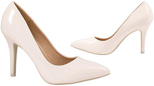 Escarpins Hauts Chaussures Classique Soirée Talons Dentelle Weiß Femmes qCxE8fw