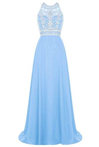 linie A Abschlussballkleider Promkleider Damen Abendkleider Steine lang Blau Hell Chiffon Neuheit Charmant Wunderschoen qwznWxHHS