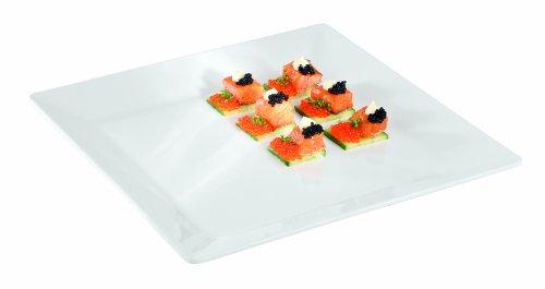 Aps Paderno World Cuisine 14-1/2 Square Inch White Melamine Platter