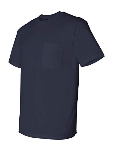 (Gildan 5.6 oz. Ultra Blend 50/50 Pocket T-Shirt, Navy, L)