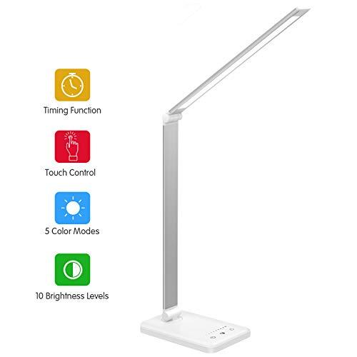 Lampara Escritorio LED,Lamparas de Mesa USB Regulable Recargable-2000mAh Plegable Luz(5 * 10 Modos de Brillo,Temporizador de 30/60min,Modo de memoria inteligente) Para Leer,Estudiar, Protege a ojos