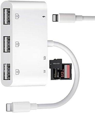 Lettore di Schede SD TF, 6 in 1, Adattatore per Fotocamera USB con 3 USB Femmina OTG, Lettore di Schede e Porta di Ricarica per Phone11Xs XR X 8/7/Pad, Supporta Flash Drive USB, Mouse, Tastiera,MIDI
