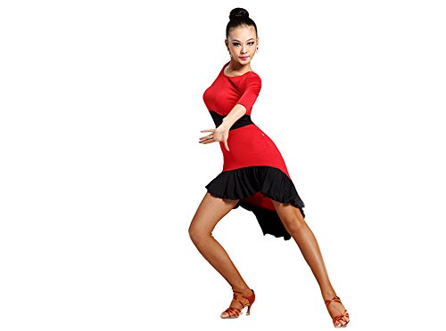 Motony Women Latin Dance Skirt New Style Square Dance Practice Dress Adult Long Sleeve Performance Costume Red (Dance Costumes Performance Wear)
