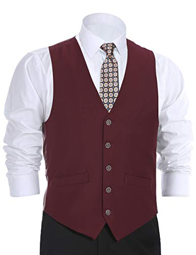 CHAMA Men's Suit Dress Vest Waistcoat Regular Fit Vest - Many Colors (38 Regular, Burgundy)