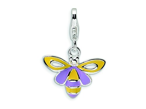 Amore LaVita Sterling Silver Enameled Bee Lobster Clasp Bracelet Charm by Amore LaVita