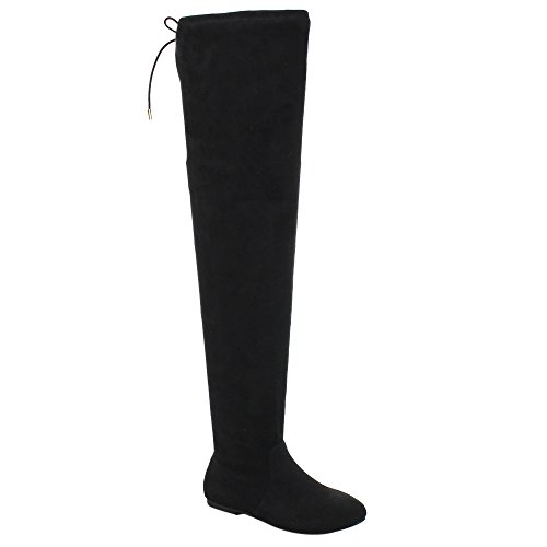 NATURE BREEZE FD72 Women's Stretchy Thigh High Over The Knee Flat Heel Boot, Color:BLACK, (Flat Over The Knee Boots)