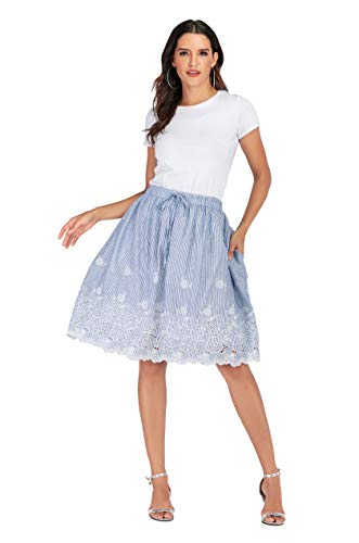 Casual Skirt - Love Welove Fashion Women's A-line Flared Embroidered Knee Length with Lining midi Skirt (L, Blue -White Stripes)