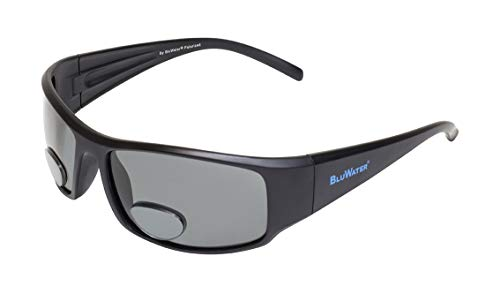 (BluWater Polarized Bifoca 12.0 Smoke Lenses (Matte Black, Small))