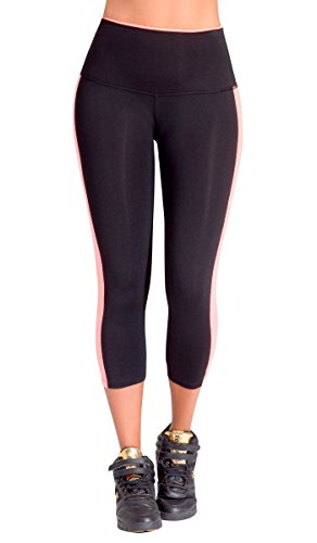 Lowla Fashion Shapewear 41232 Pantalon Capri Deportivo para Mujeres Workout Fitness Training Sports Jogger Pants For Women Black Trousers M
