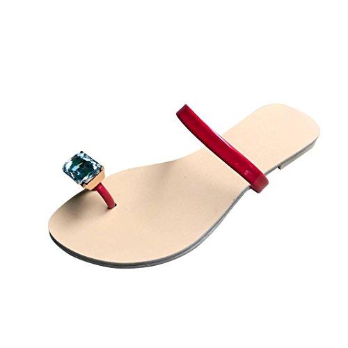 d'été Culater® Sandales EU Femmes rouge Talon 41 Chaussures Antidérapant Plat de Plage Pantoufle Strass xxw5ZEAr
