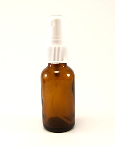 1 oz Amber Glass Bottle/Vial with White Misting Spray Top fo
