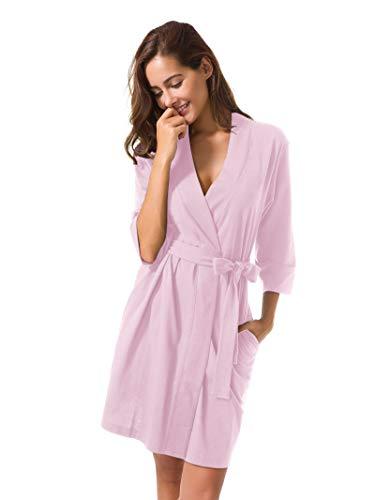 Cotton Pink Short - SIORO Cotton Robes Lightweight Kimono Robe Gowns Soft Knit Bathrobe Nightwear V-Neck Loungewear Sexy Sleepwear Short for Women Dusk L