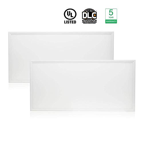 Cortelco LED Panel Light, Troffer Drop Ceiling Flat Panel Light 2x4FT, Dimmable 0-10V Edge-Lit Light Fixture, 48W, 6240Lumens, 5000K, DLC&UL Listed, 2 Pack