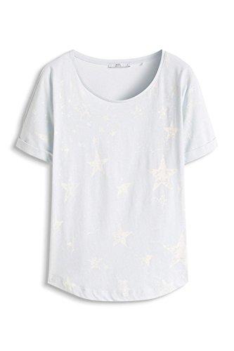 edc by Esprit Mit Print, Camiseta para Mujer Azul (PASTEL BLUE 435)