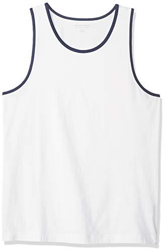 Top Tank Mens Cotton - Amazon Essentials Men's Slim-Fit Ringer Tank Top, White/Blue, Large