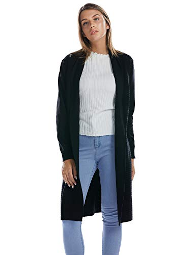 Coat Knee Length Nylon (BARGOOS Women Chunky Open Front Cardigans Long Sleeves Stretch Knitted Sweater Coats Black Medium)